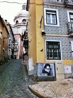 Stikki Peaches stencil in Lisbon