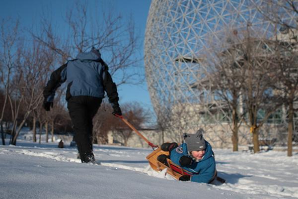 parc jean-drapeau sledding montreal