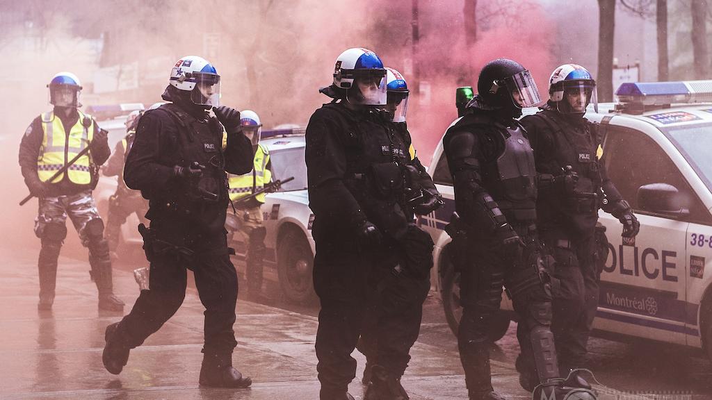 Montreal police tear gas SPVM